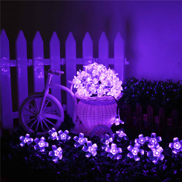 New 4 sets/lot Solar Fairy String Lights 21ft 50 LED Purple Blossom Decorative Gardens, Lawn, Christmas Trees, Weddings, Parties