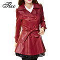 TLZC 2017 Fashion Women Faux Leather Jackets Black / Wine Red Plus Size M-4XL New Hot Sale Lady Long Outerwear Coat with Belt