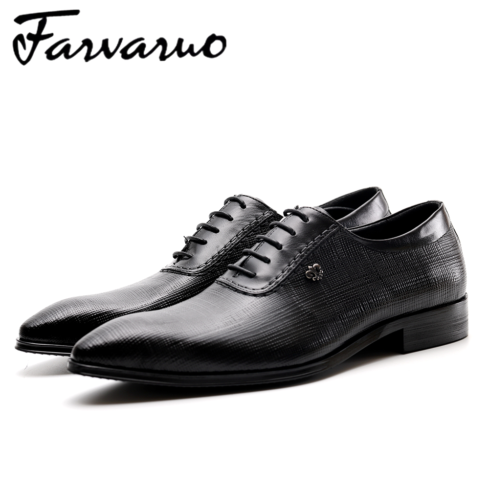 Farvarwo Italian Formal Shoes Men Genuine Leather Oxford Dress Shoes Pointed Toe Office Shoes Wedding Mens Business Derby Black