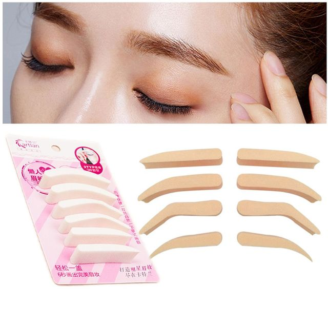 3 Types Women Lady Natural Fashion Pro New Eyebrow Sponge Stamp Definition Makeup Brow Template Stencil Beauty Makeup Tool Makeup Brushes