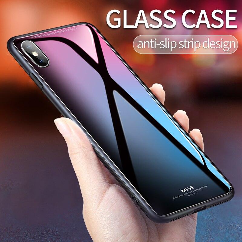 Msvii pour iPhone X Verre Cas pour l'iphone X Coque Silicone Choc Preuve De Luxe Mince Trempé Couvercle En Verre pour iphonex retour
