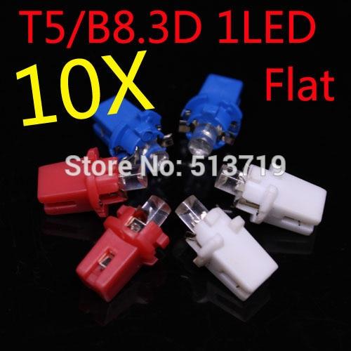 10X 12V Auto T5 B8.3D LED Flat Dashboard Speedometer Light Bulb Car LED B8.3 Instrument Panel Light map Lamp Packing Car Styling