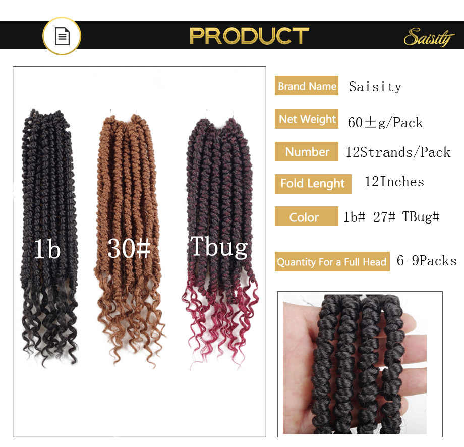 Saisity Passion Spring Twists Synthetic Crotchet Hair Extensions Crochet Braids Fiber Fluffy Kinky Curly Twist Braiding Hair