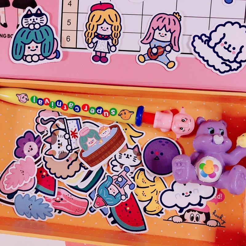 Купить с кэшбэком 35pcs / Packs Ins Girl Heart Cartoon Cat Handmade Sticker Diary Album Mobile Phone Account Book Diy Decorative Stickers Package