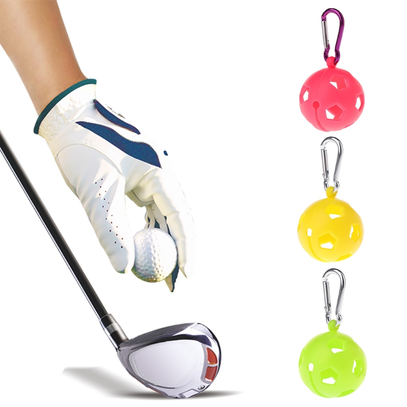 Golf Ball Protective Holder Cover Case Silicone Sleeve Carabiner Sport Accessory image