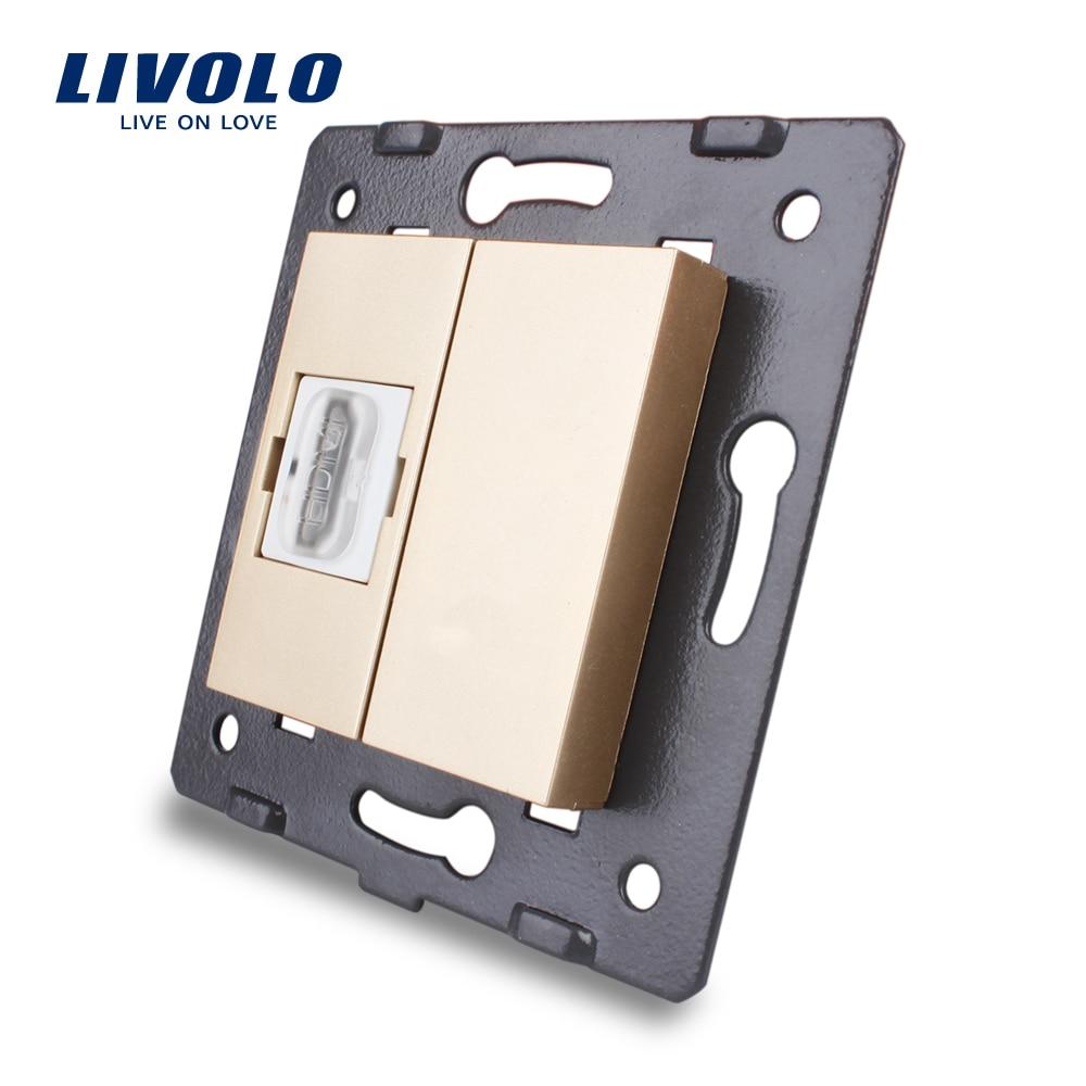 Manufacturer Livolo Golden Plastic Materials 80mm 80mm EU Standard Function Key For HDMI Socket VL C7