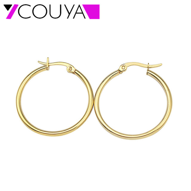 Stainless Steel Jewlelry Oval Small Gold Hoop Earrings 316l 20 15mm Color