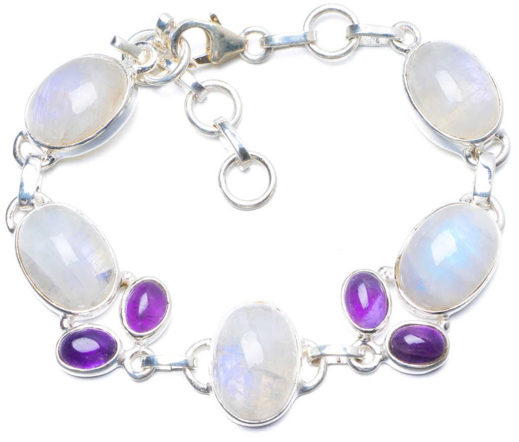 Natural Rainbow Moonstone and Amethyst Handmade Unique 925 Sterling Silver Bracelet 6 1/2-7 3/4