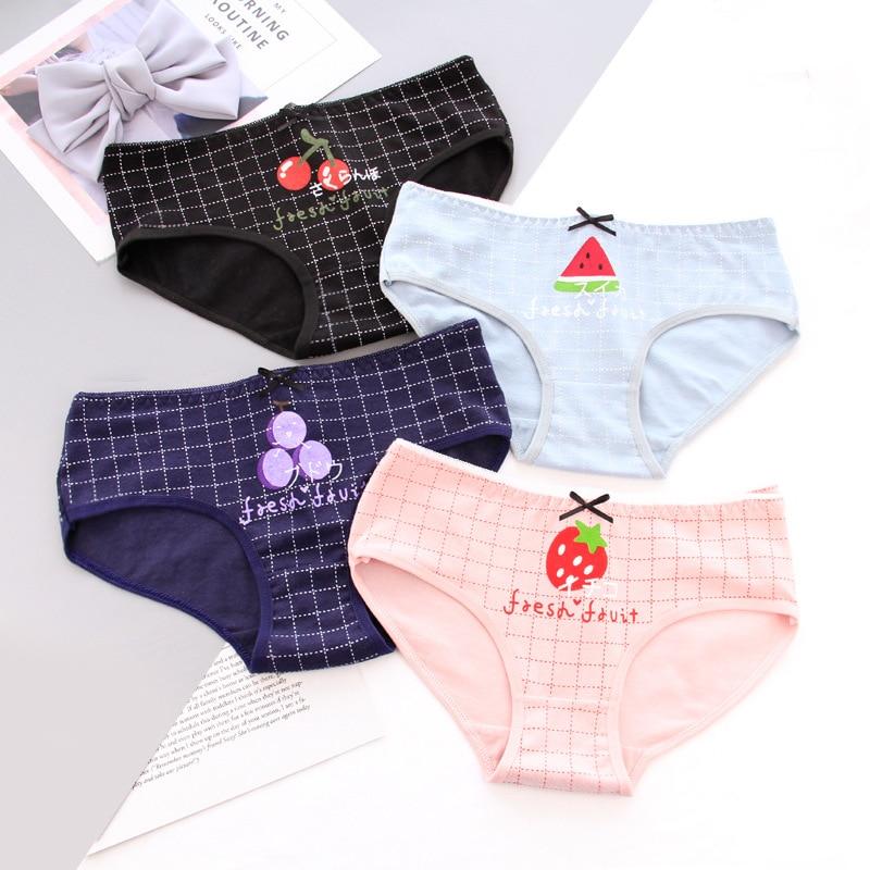 1f7dcac0705a 6 Styles Women's panties cotton girl briefs Strawberry watermelon cherry  print underwear female cute lingerie Grid Panty FZA0081