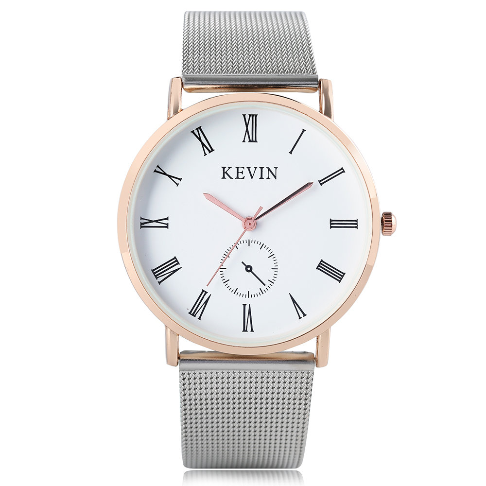 KEVIN Top Brand Watches Man Women Rose Gold Case Fashion Casual Fashion Dress Clock Roman Number Wrist Quartz Watch Mesh Strap objective ielts intermediate student s book cd rom