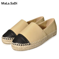 European Famous Brand Patchwork Espadrilles Shoes Woman Genuine Leather Creepers Flats Ladies Loafers Moccasins Big Size 34 42