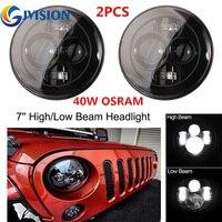 For Jeep Wrangler 97 15 JK Hummer Toyota Harley Black Projector LED Headlight Warngler 7 Inch