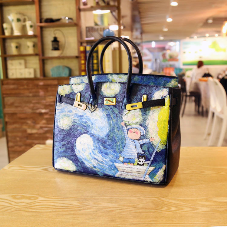 2016 Women Bag Fashion summer hit the color portable hand-painted Star platinum package ladies large Europe PU Leather Handbags star island summer