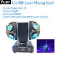 Nuevo 12x10 W RGBW 4IN1 LED haz láser Luz de cabeza móvil DMX512 Bola de discoteca sonido fiesta luz DJ luces de cabeza móvil para Bar Club