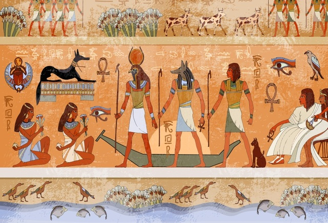 Laeacco Fantasy Ancient Egyptian Mural Hieroglyphic
