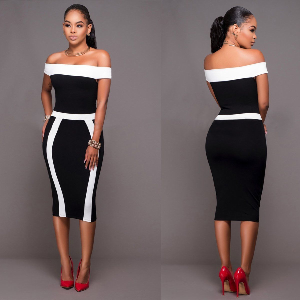 Black Girl Clothing: Womens Bodycon Black Slash Neck Off Shoulder Dress Ladies