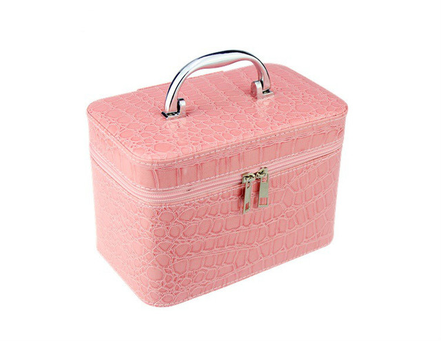 Portable Stone Cosmetic Trunk Bags for Women Make Up Box Travel Pro Waterproof Double Zipper Makeup Organizer Storage Case Bags