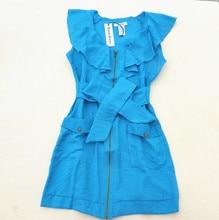 Flounced Dress Summer Vestidos Verano Robe Femme Student Fashion short Sleeve Slim dress Flouncing Pure Color Zipper Bow Dress