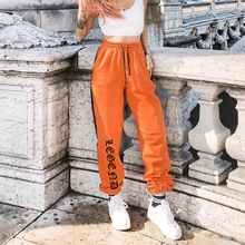 VISBODA Women Loose Sweatpants Harajuku Trousers 2019 Autumn Female Orange