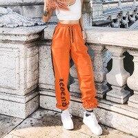 Women Loose Sweatpants Harajuku Trousers 2018 Autumn Female Orange Letter Printed Joggers Pants Hip Hop Dance Pants Plus Size