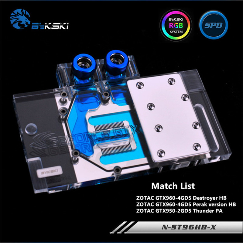 Bykski Full Coverage GPU Water Block For ZOTAC GTX960-4GD5 Destroyer HB GTX950 Graphics Card N-ST96HB-X computador cooling fan replacement for msi twin frozr ii r7770 hd 7770 n460 n560 gtx graphics video card fans pld08010s12hh