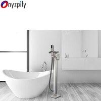 Никель Ванная комната ванна раковина кран напольные водопад ванной смесители свободностоящая горячей и холодной ванны набор для душа ручн
