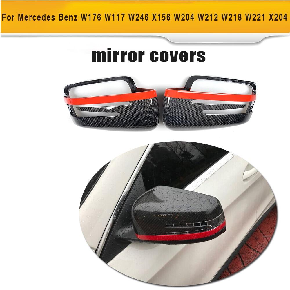 Carbon Fiber Car Side Mirror Cover for Mercedes Benz W176 W246 W204 W117 W218 W212 W207 X156 X204 W221 цена