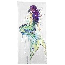 Современный дизайн полиэстер полотенце полотенца пляжное полотенце банное Смешная красивая русалка повернуть назад 27 х 54 мочалки полотенца