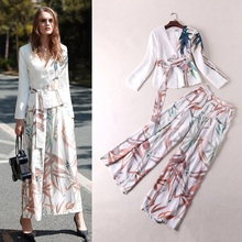 Fashion Women Casual Pant Set Spring Summer 2017 Blouses Print Top+Wide Leg Print Pant Trousers Ladies Twinset Women Clothing