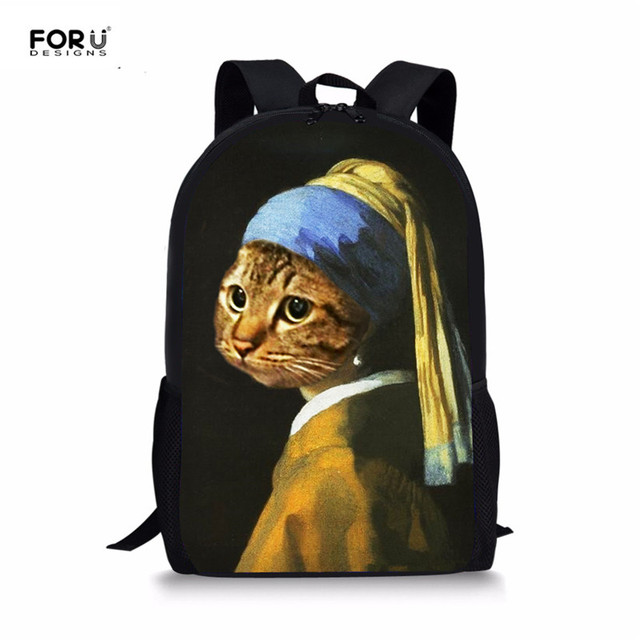123e99788dcf FORUDESIGNS Funny Cat 3D Print School Bags Students Mona Lisa Design  Schoolbags Bagpack Children Casual Beach Bag Book Rucksack
