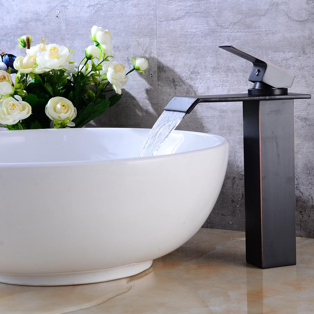 купить Square Waterfall Basin Sink Faucet Water Tap Oil Rubble Bronze Faucets Hot and Cold Mixer Crane недорого