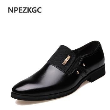 Homens Se Vestem Sapatos NPEZKGC Slip-on Preto Oxford Sapatos Para Homens Apartamentos de Couro Homens Sapatos Da Moda Respirável Confortável Zapatos hombre