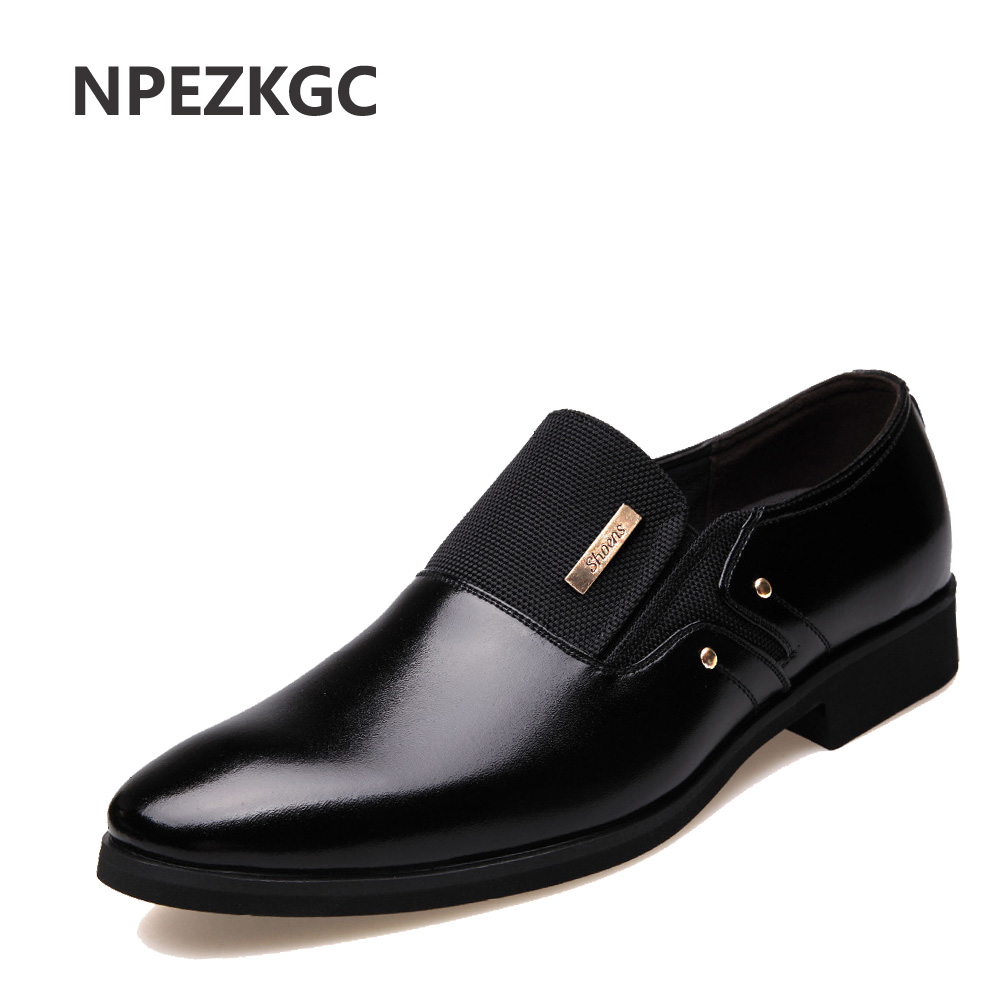NPEZKGC Men Dress Shoes Slip-on Black Oxford Shoes For Men Flats Leather Fashion Men Shoes Breathable Comfortable Zapatos Hombre стоимость