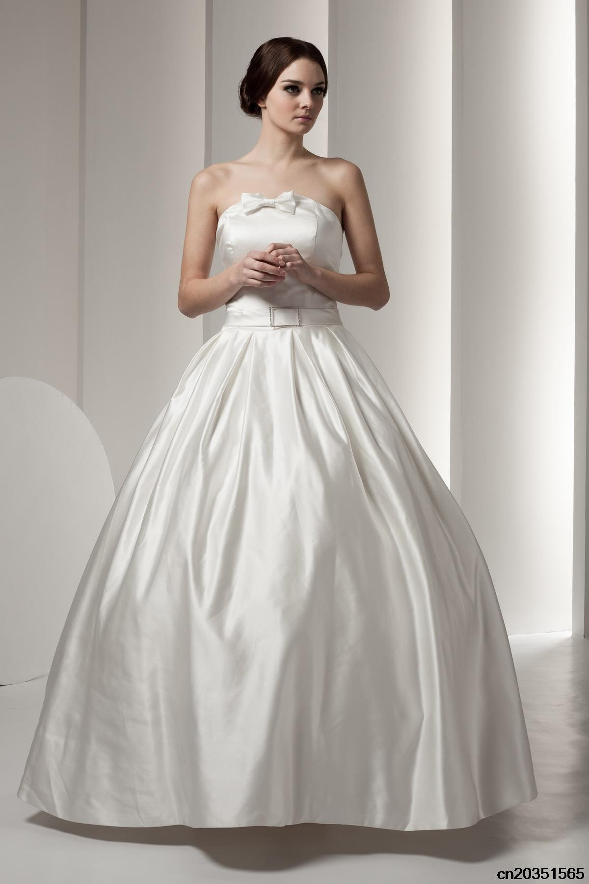 satin cute bridal wedding gowns with ankle Length,strapless Beaded ...