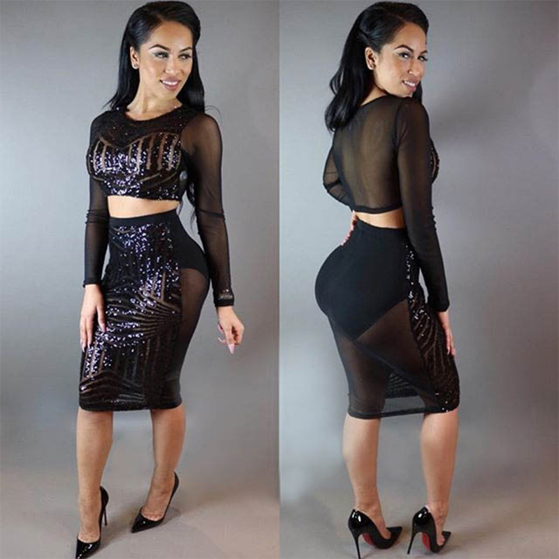 Sexy Round Neck Long Sleeve Sequined Hollow-out Black perspective Slim Package hip Polyester Two-piece women dress Set 2018