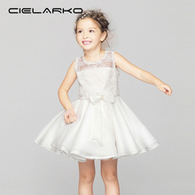 Фотография Cielarko Girl Dress White Lace Children Party Dresses Bow Elegant Fancy Baby Birthday Frocks Wedding Clothes for Girl