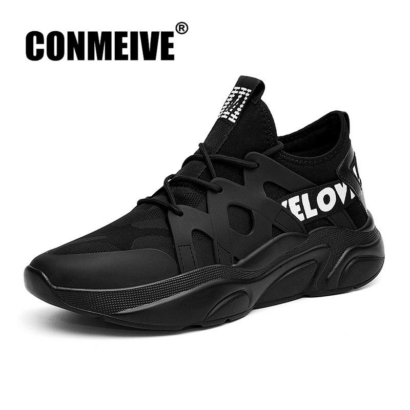 2018 New Autumn Winter Mens Shoes Fashion Breathable Black White Sneakers Lace-up Light Luxury Brand Trainers Men Casual Shoes