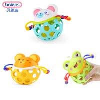 Beiens Animails Ręcznie Bell Fitness Chwyć Ball Grzechotki Zabawki Dla Dzieci Nauka dla Edukacji Niedźwiedź Żaba Mouse ze Światłem i Dźwiękiem
