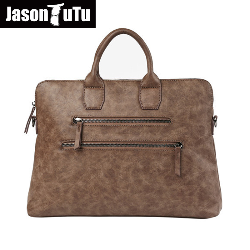 JASON TUTU 2017 New handbag Retro Crazy Horse PU leather Shoulder Messenger bag MEN tote file briefcase Free shipping B488