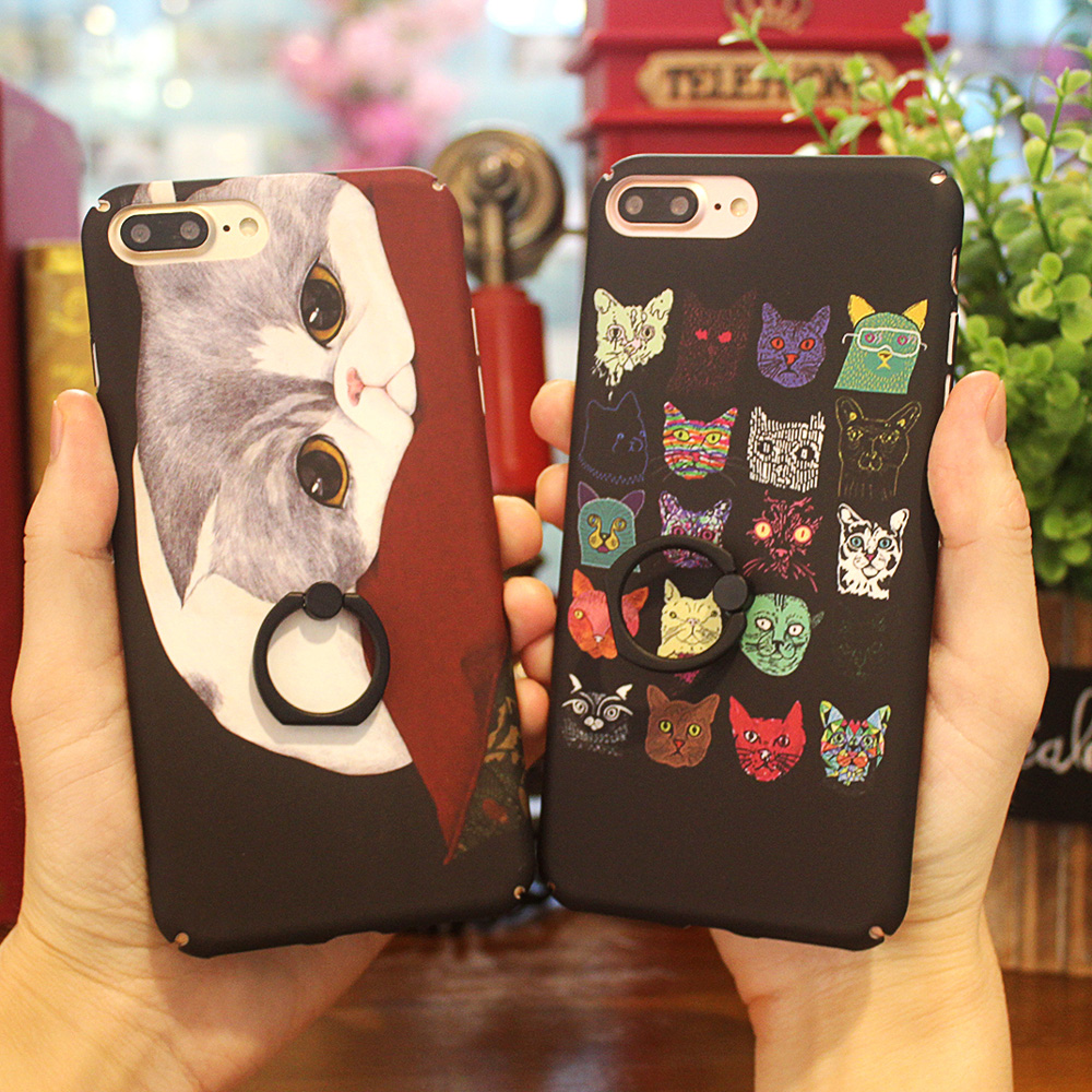 CYBORS for iphone 6 6s / 6 plus Case Oil Painting Colored Case for iphone 7 / 7 Plus Back Cover Hard Skin with Ring Hold Stand