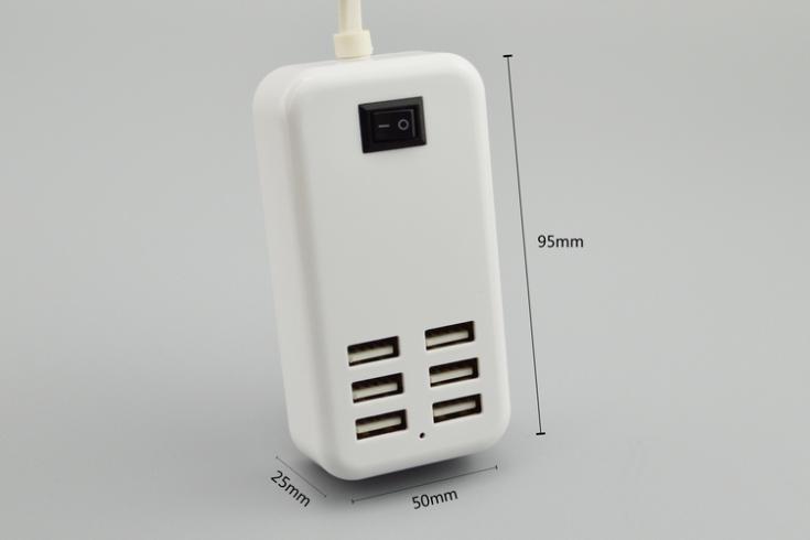 SUMPK 5 V 6A 6-Port USB Wall Charger EU / US Plug Universal Travel - Aksesori dan suku cadang ponsel - Foto 3