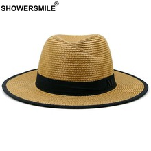 445fed26fe9 SHOWERSMILE Khaki Straw Hats Women Men Breathable England Style Summer Sun  Hat Lady Beach Panama Caps With A Wide Brim Jazz Hat