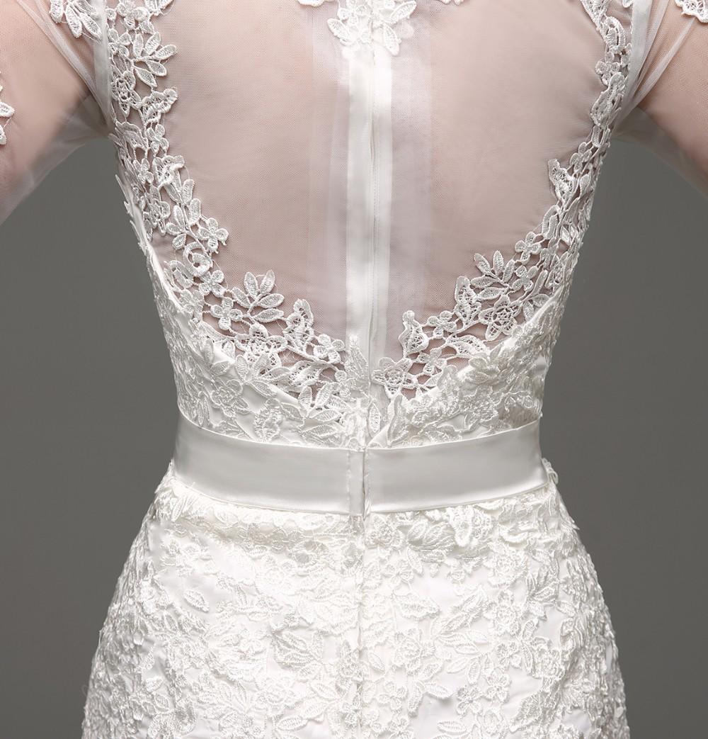 Long Sleeve Sheath Lace Appliqued Bridal Dress 4