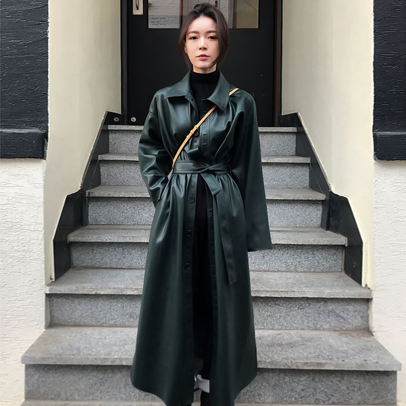 faux   leather   PU coat long trench coat for women windbreaker spring black Single Breasted Sashes 2018 clothes new Casual B897