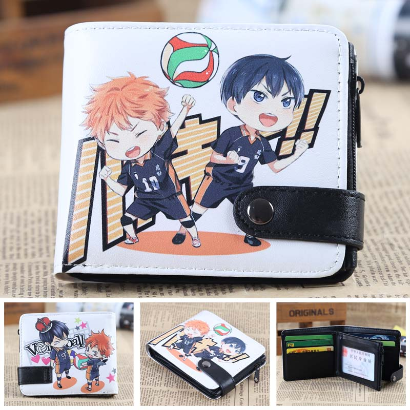 Anime Haikyuu!! Chibi Hinata Syouyou & Kageyama Tobio PU Short Zero Wallet/Coin Purse/Multilayer Double-button Wallet
