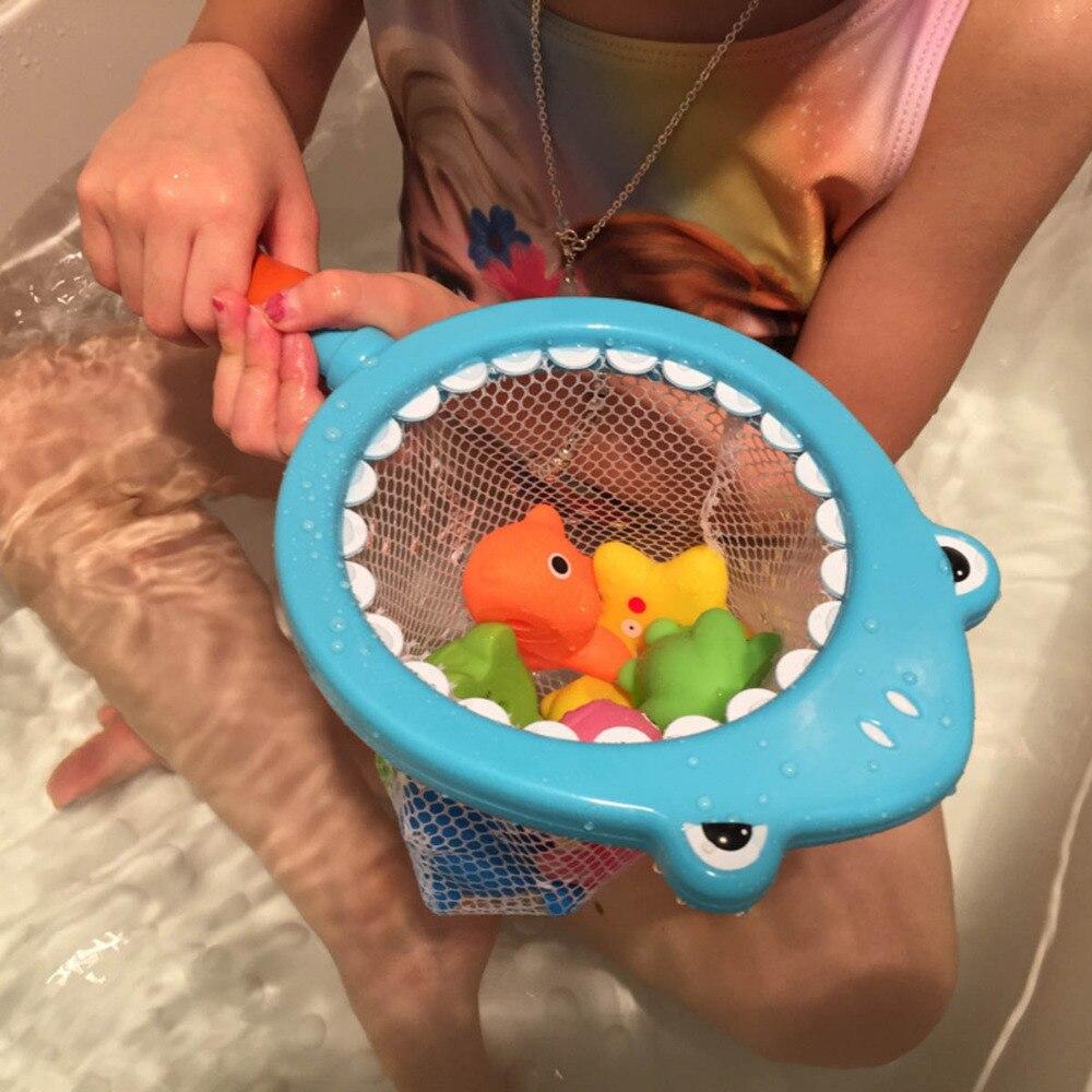 Bath Toy 8PCS/Sets Fishing Toys Network Bag Duck Fish Kid Summer Play Water Bath Doll Shower Water Soft Floating Bath Shark Toys