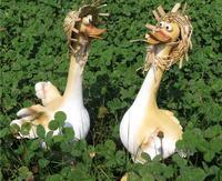 2pcs Cartoon Duck Ornaments Garden Ornaments Animal Sculptures Resin Crafts Small Garden Fairies Garden Fountain