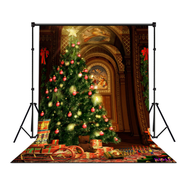 LB Polyester & Vinyl Church Painting Christmas Tree Sledge Pulled ...