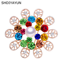 SHDIYAYUN New Pearl Brooch Austria Crystals Flower Brooch For Women Round Brooch Pins Brooches Natural Freshwater Pearl Jewelry cmajor flower shaped brooch with pearl jewelry silver gold color brooches for women