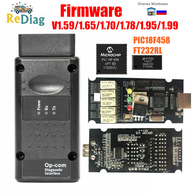 Firmware OPCOM 1.99 1.95 1.78 1.70 1.65 1.59 PIC18F458 FTDI Chip CAN-BUS Code Reader For Opel OP COM OP-COM Diagnostic Tool